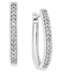 Macy's Diamond Oval Hoop Earrings 1 4 Ct. T.W. In 14K White Or Yellow Gold White Gold
