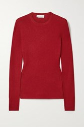 Michael Kors Collection Ribbed Cashmere Sweater Red