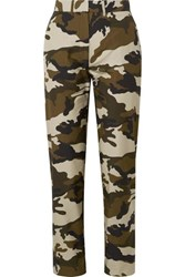 House Of Holland Camouflage Print Cotton Canvas Straight Leg Pants Army Green