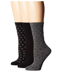 Steve Madden 3 Pack Pattern Crew Socks Black Dot Women's Crew Cut Socks Shoes
