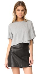 Kendall Kylie Draped Crop Tee Medium Heather Grey