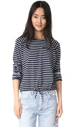 The Lady And The Sailor Ballet Drawstring Pullover Navy Stripe