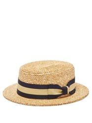 Lock And Co. Hatters Barbershop Woven Straw Boater Hat Brown