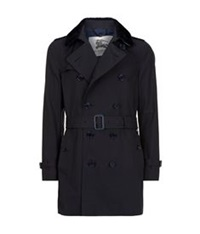 Burberry The Kensington Shearling Collar Mid Length Heritage Trench Coat Navy
