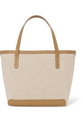 The Row Park Small Leather Trimmed Canvas Tote Beige
