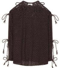 See By Chloe Knitted Open Shoulder Top Brown