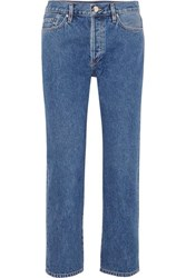Gold Sign Goldsign The Low Slung Cropped Mid Rise Straight Leg Jeans Mid Denim
