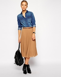 Asos Pleated Midi Skirt Camel