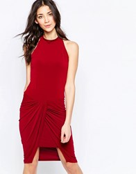 Wal G Dress With Rouched Skirt Berry Red