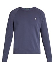 Polo Ralph Lauren Logo Embroidered Cotton Jersey Sweatshirt Navy