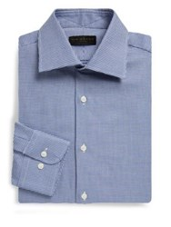 Ike Behar Regular Fit Houndstooth Dobby Cotton Dress Shirt Navy