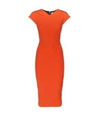 Victoria Beckham Heart Seam Fitted Pencil Dress Orange