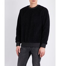 Helmut Lang Leather Trim Wool Effect Jumper Black