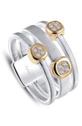 Lafonn Women's Station Stack Ring Two Tone Clear