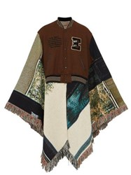 Bless Baseball Jacket Jacquard Poncho Navy Multi