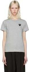 Comme Des Garcons Play Grey Heart Patch T Shirt