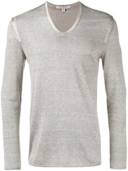 John Varvatos V Neck Jumper Grey