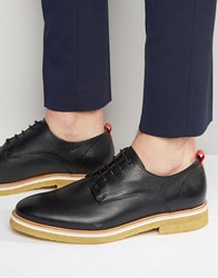 Zign Leather Crepe Sole Derby Shoes Black