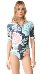 Mara Hoffman Zip Front Rash Guard One Piece Arcadia Indigo