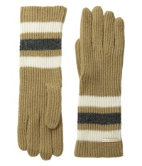 Michael Michael Kors Fisherman Rugby Multicolor Long Gloves Dark Camel Cream Derby Extreme Cold Weather Gloves Brown