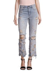 Alexander Wang Denim X Grind High Rise Distressed Cropped Flared Jeans