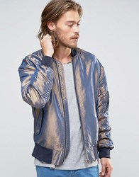 Asos Two Tone Bomber Jacket In Blue Blue