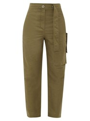 Acne Studios Peganne Slubbed Technical Peg Trousers Khaki