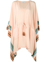 Antonia Zander Stripe Panel Kaftan Women Silk S Nude Neutrals