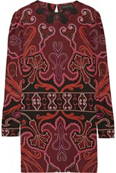 Rachel Zoe Magnus Printed Silk Jersey Mini Dress Burgundy Red