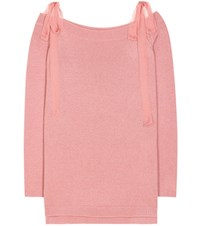 Valentino Cashmere Off The Shoulder Sweater Pink