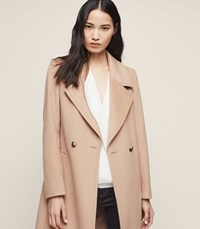 Reiss Lawson Double Breasted Longline Coat In Camel