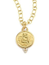 Temple St. Clair Diamond And 18K Yellow Gold Angel Pendant