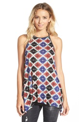 Sun Shadow Print Racerback Tank Juniors Red Mineral Aztec Tile Prt