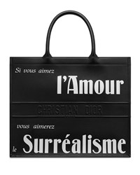 Christian Dior Book Tote In Black Printed And Embossed Smooth Calfskin