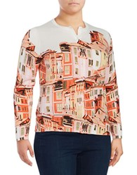 Lord And Taylor Plus Printed Long Sleeve Cardigan Orange