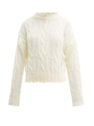 Acne Studios Distressed Cable Knit Sweater Ivory