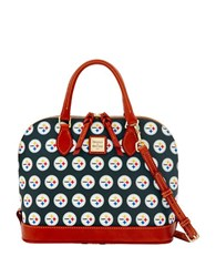 Dooney And Bourke Pittsburg Steelers Zip Zip Satchel Black Steelers
