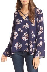 Lush Women's Cross Front Blouse Navy Pink Floral