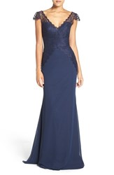 Hayley Paige Occasions Women's Cap Sleeve Lace And Chiffon Trumpet Gown Navy Indigo