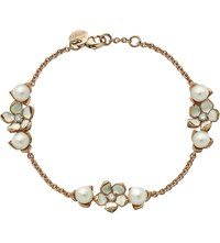 Shaun Leane Cherry Blossom Rose Gold Vermeil Ivory Enamel Pearl And Diamond 3 Flower Bracelet