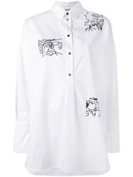 Kenzo Embroidered Patch Shirt Women Cotton Polyester Viscose 42 White