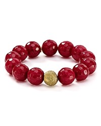 Bourbon And Boweties Beaded Stretch Bracelet Red