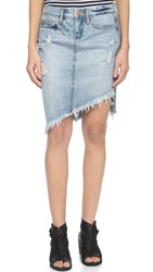 Blank Denim Frayed Skirt