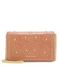 Miu Miu Embellished Leather Shoulder Bag Brown