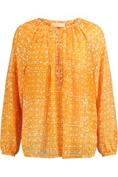 Michael Michael Kors Printed Chiffon Blouse Yellow