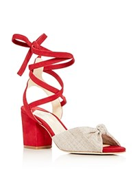 Isa Tapia Women's Alma Linen And Suede Ankle Tie Block Heel Sandals 100 Exclusive Natural Lipstick Red
