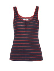 Frame Denim Le Nautical Striped Linen Tank Top Red Stripe