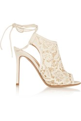 Gianvito Rossi Macrame And Suede Ankle Boots Off White