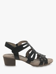 Gabor Holycron Leather Cut Out Heeled Sandals Black