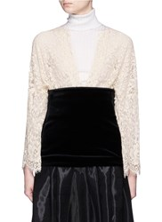 Toga Archives Velvet Panel Floral Guipure Lace Top White